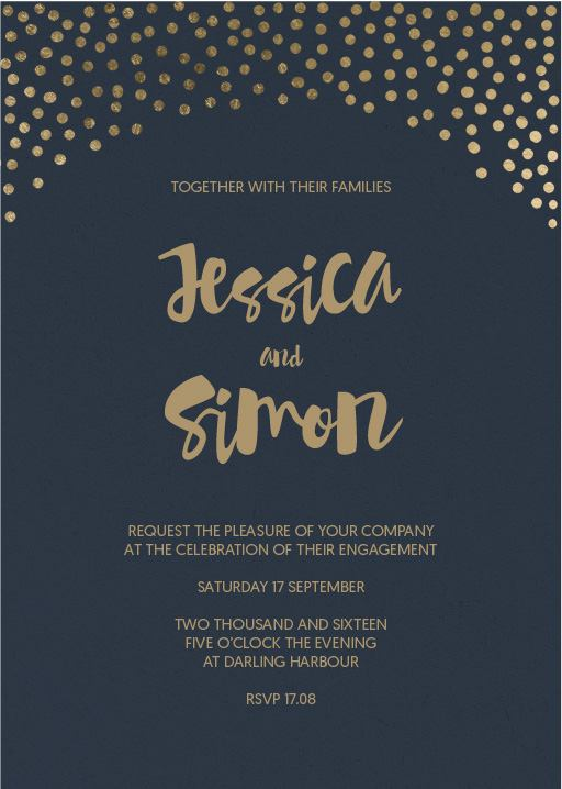 Foil of dreams - engagement invitations
