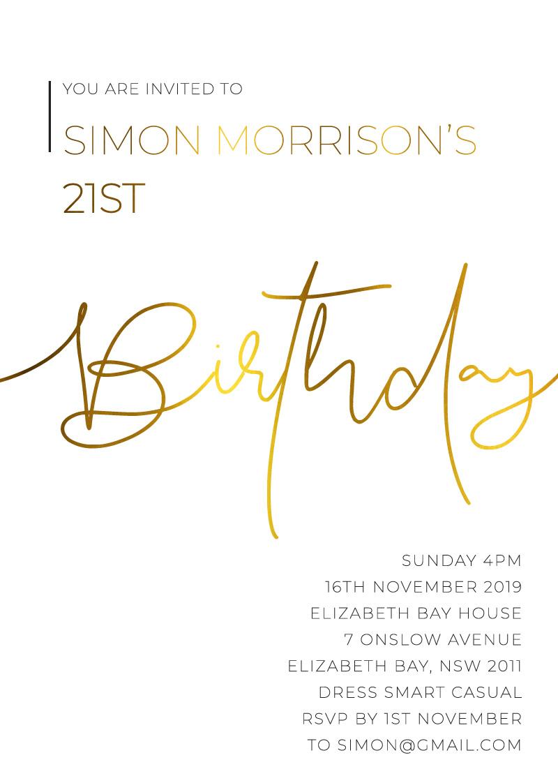 Minimalist Black and white - Birthday Invitations