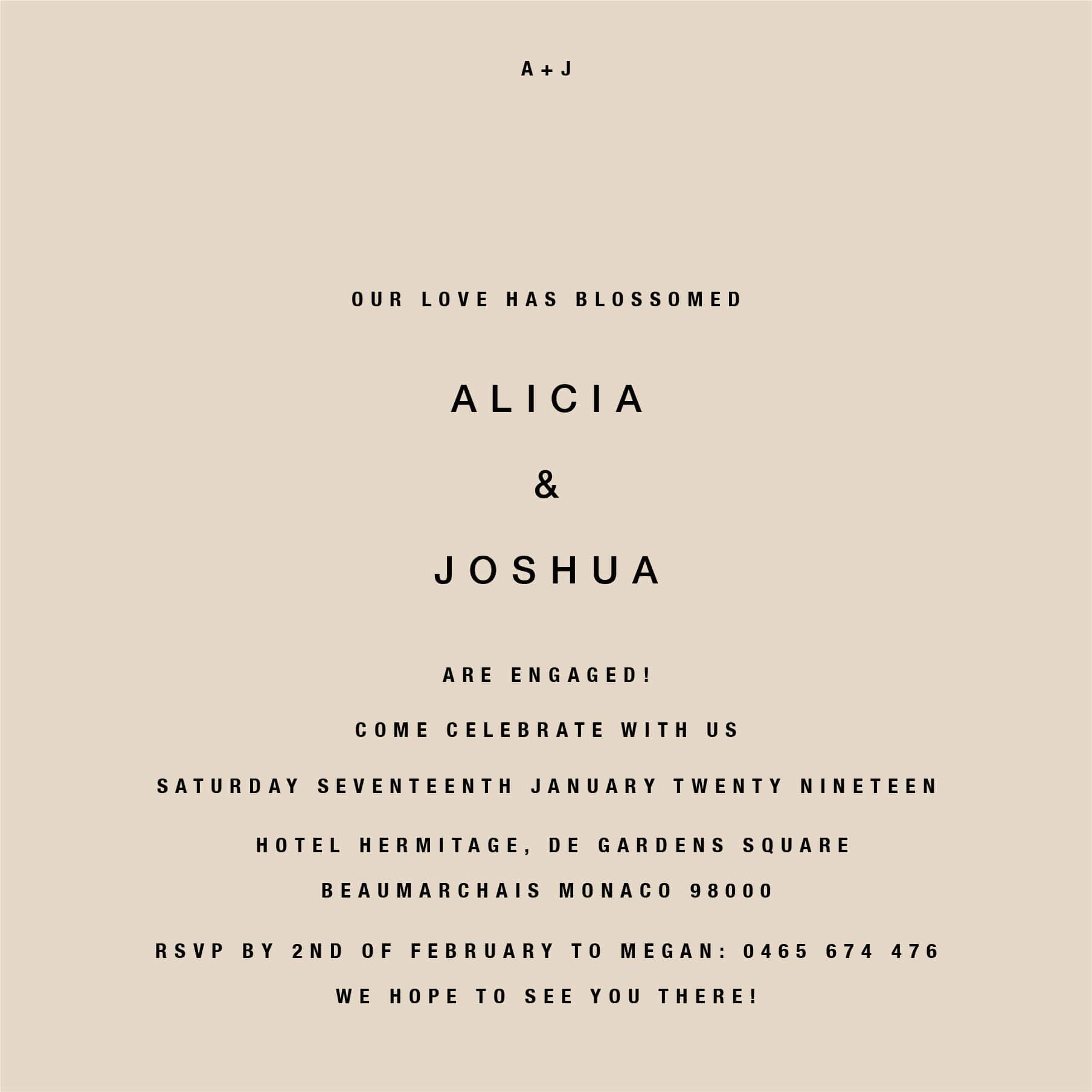Medinilla - Engagement Invitations