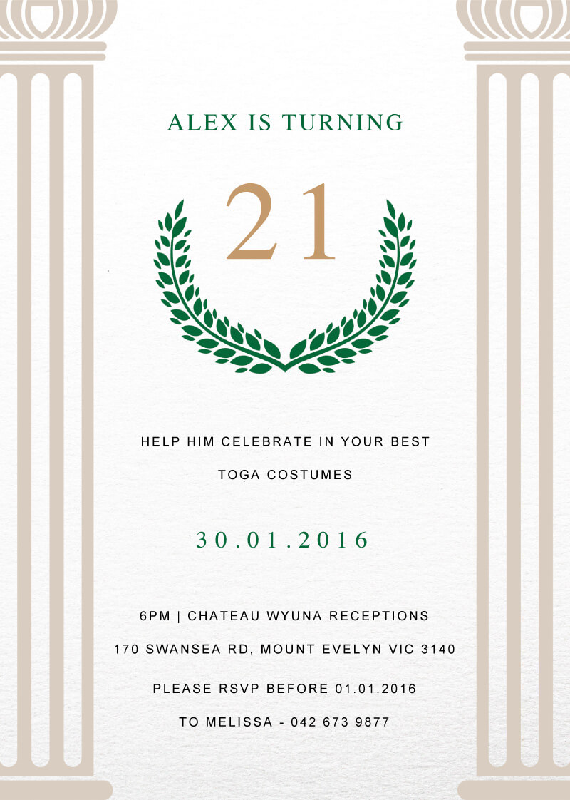 Toga - Birthday Invitations