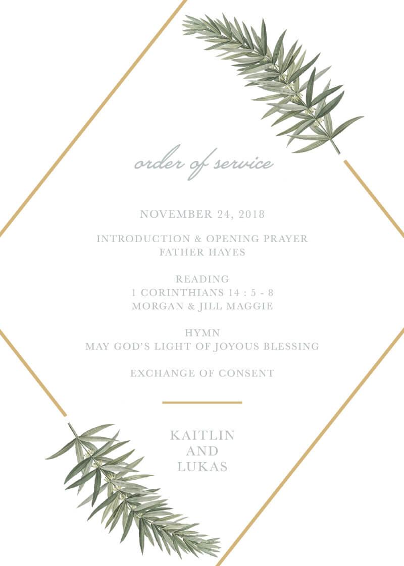 Diamond Branch - Wedding Programs