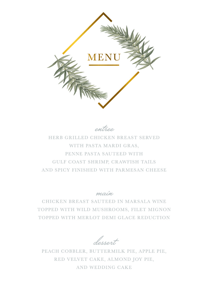 Diamond Branch - Menu