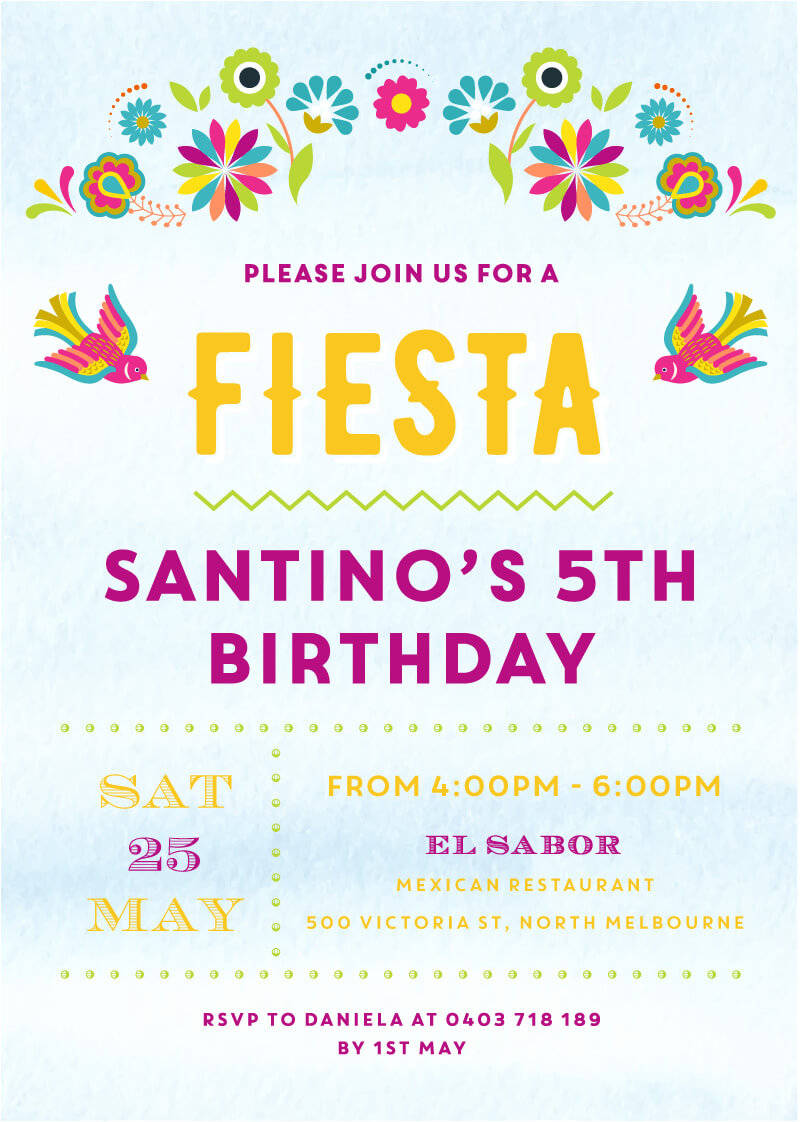 Mexican Floral - Birthday Invitations