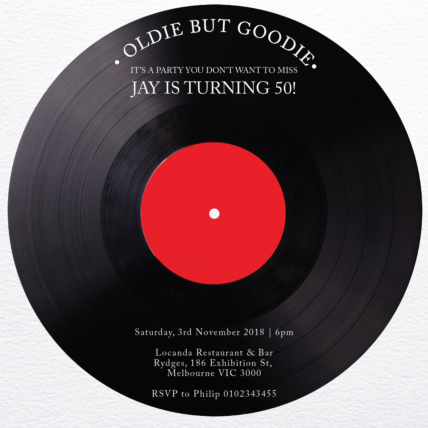 Vinyl Night - Birthday Invitations