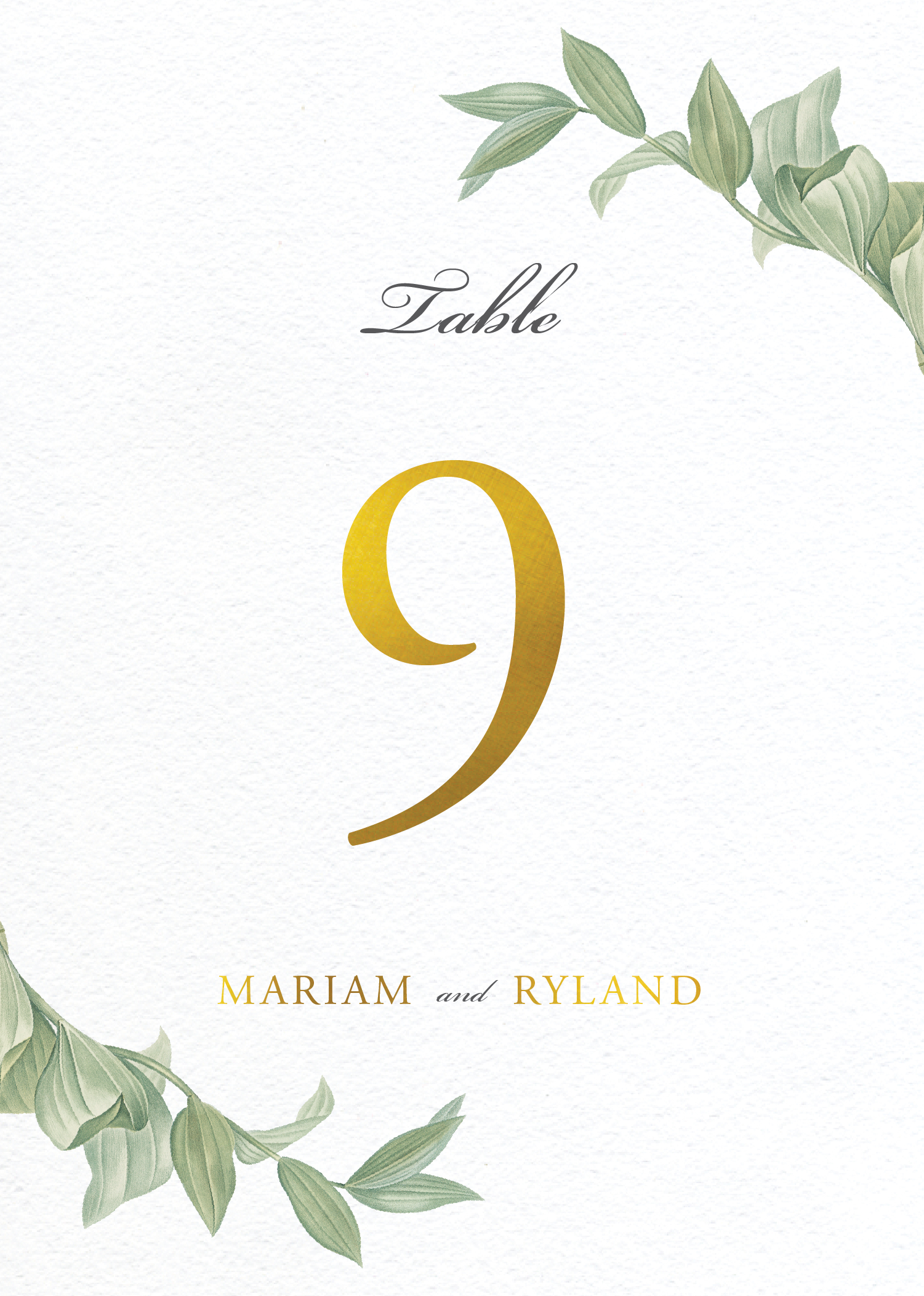 Branch - Table Numbers