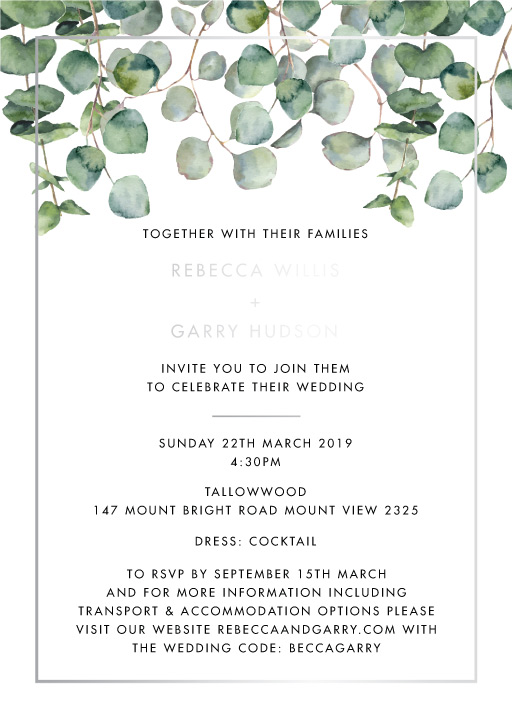 Eucalypt Estate Wedding Invitations - wedding invitations