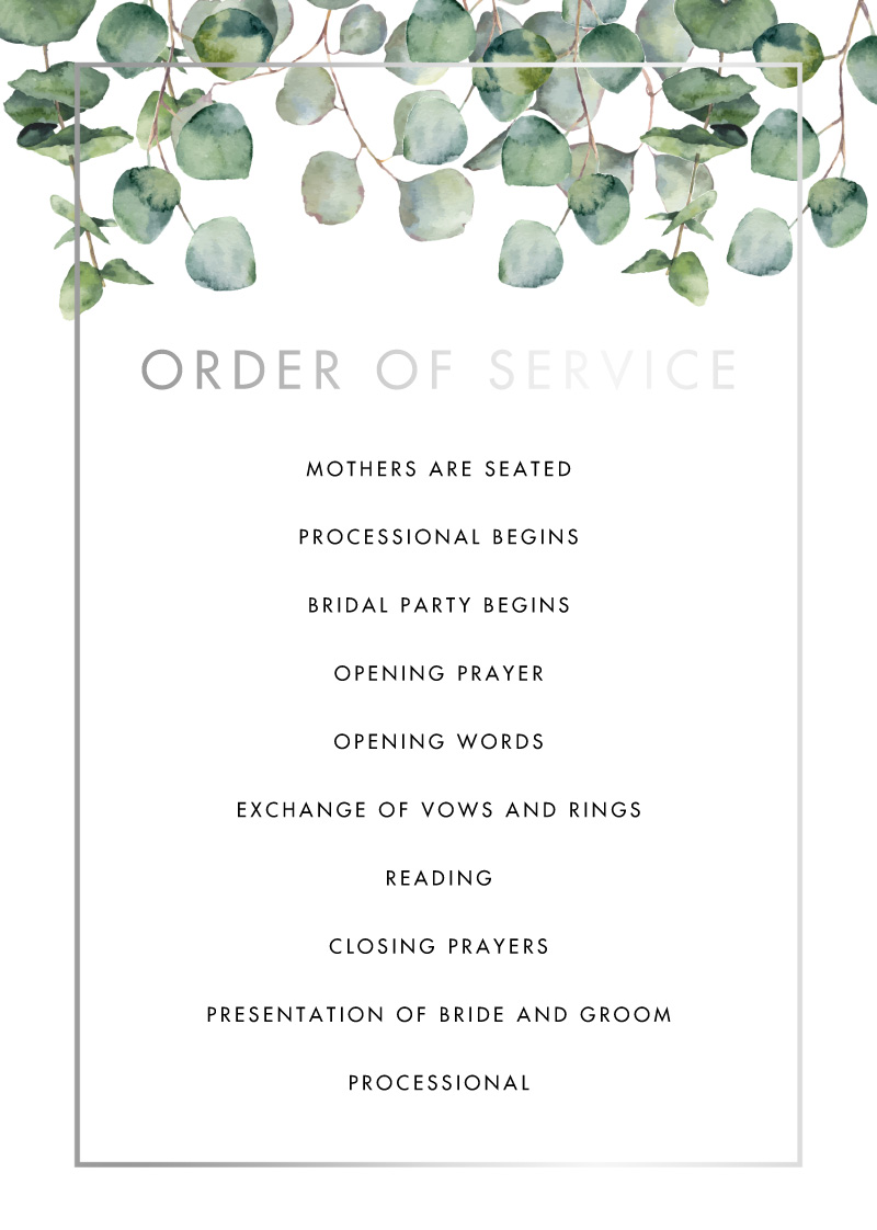 Eucalyptus Estate - Wedding Programs