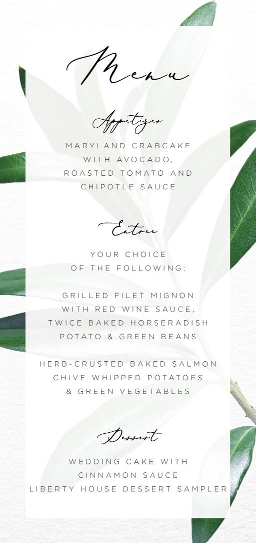 Olive - Wedding Menu