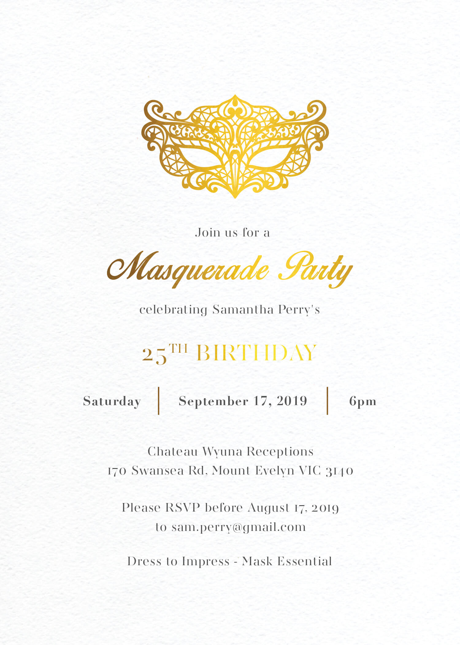 Masque - Birthday Invitations