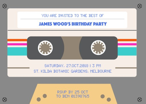 Back to the 90s - birthday invitations