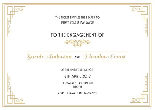 All aboard - engagement invitations