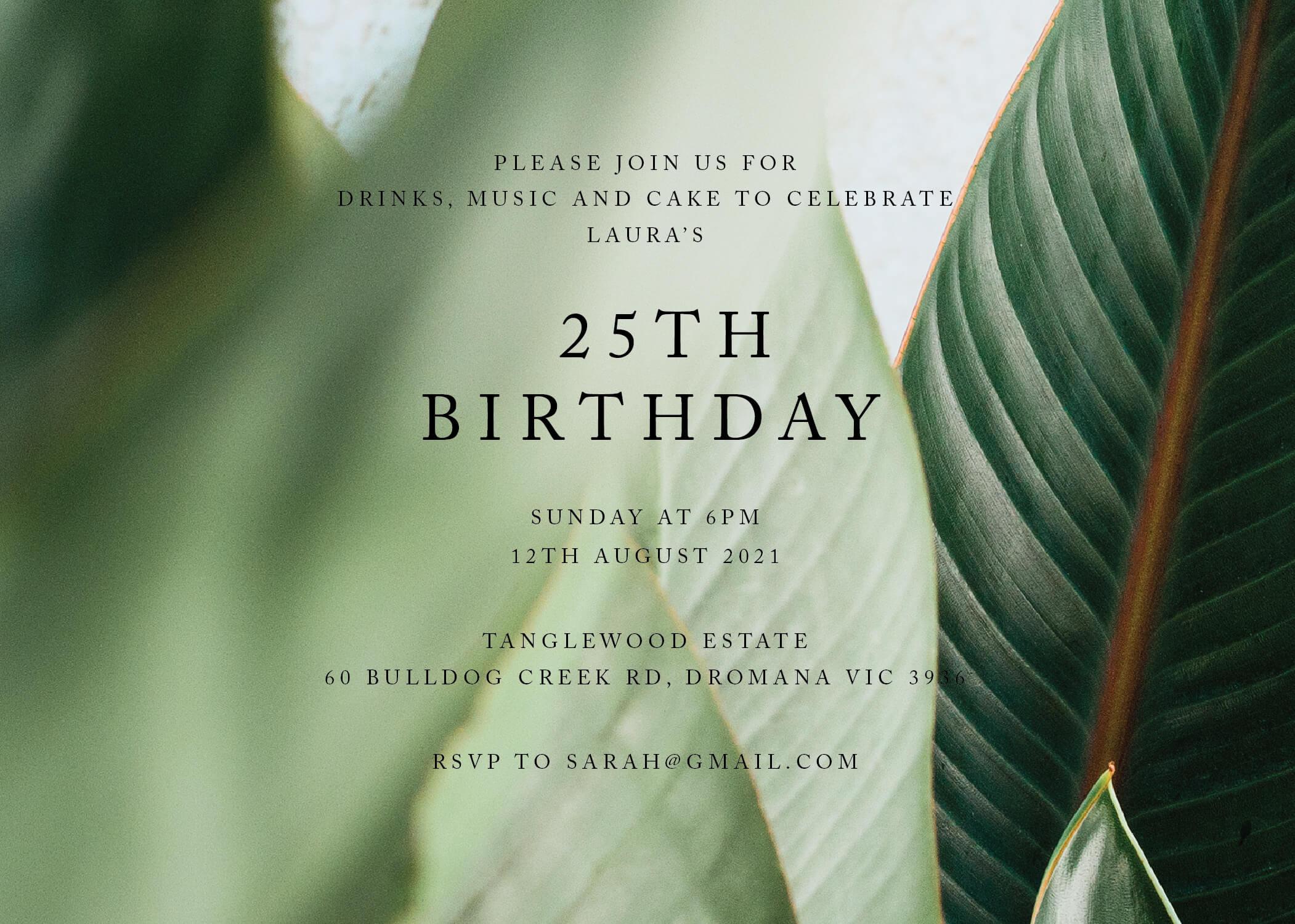 Tropical Leaves - Birthday Invitations