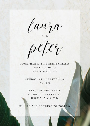 Tropical Leaves Wedding Invitations - wedding invitations