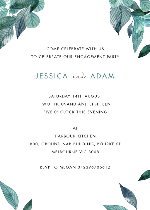 Stylistically Green - engagement invitations