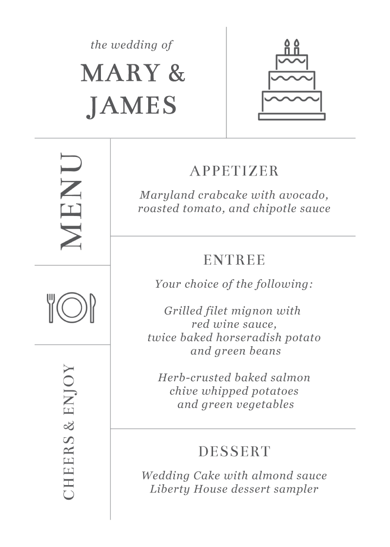 Type on Line - Menu Card