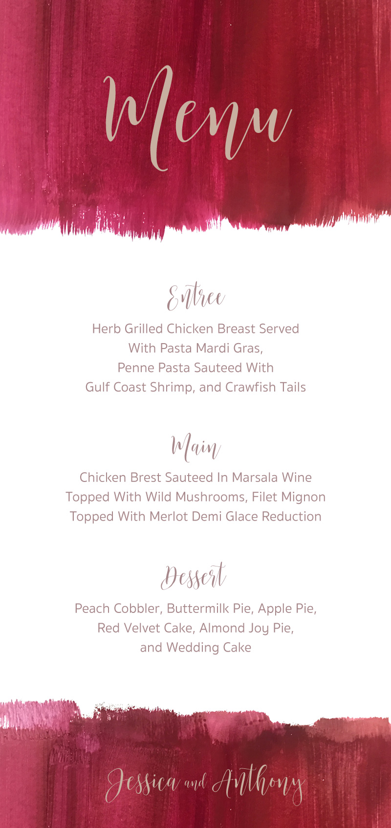 Pinot Noirs And Chardonnays - Menu