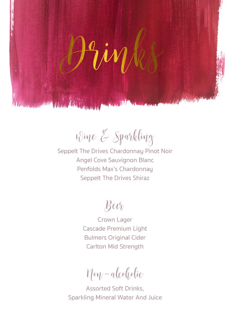 Pinot Noirs And Chardonnays - Menu