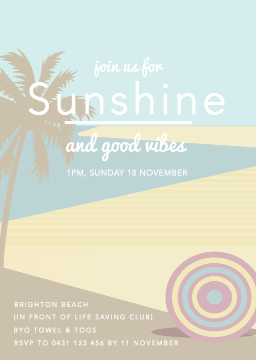 Beach vibes - birthday invitations