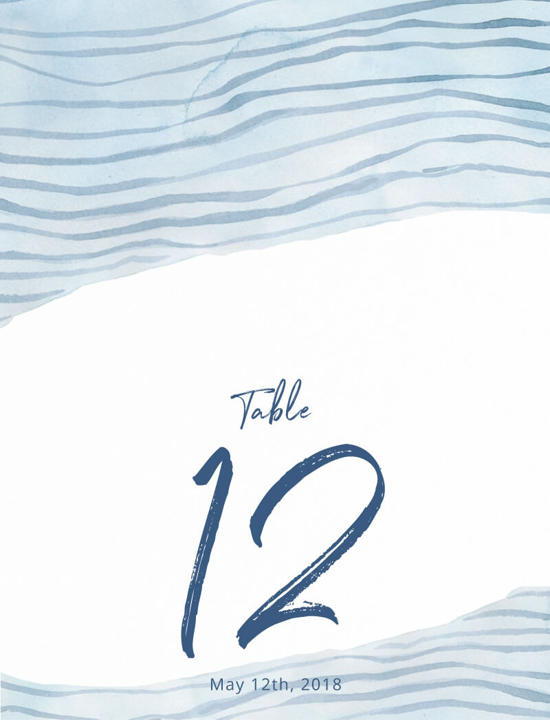 Soft Waves - Table Numbers