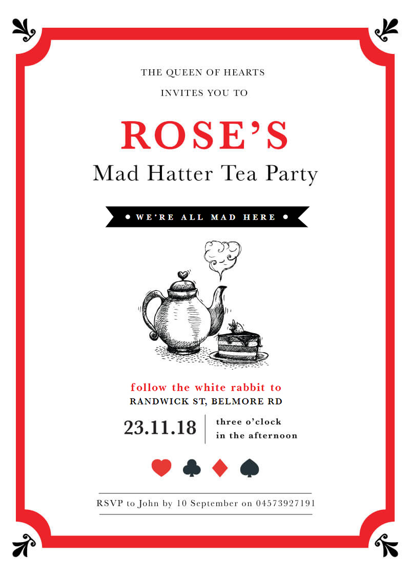 All Mad Here - Birthday Invitations