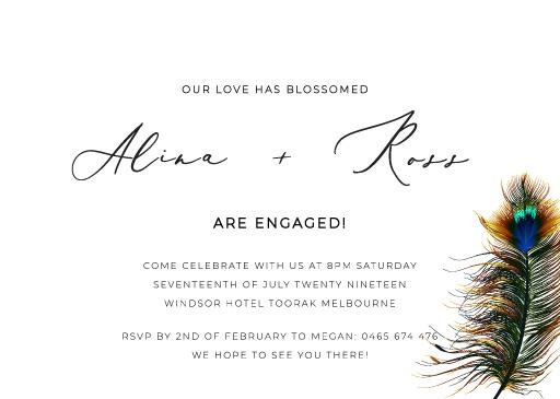 Peacock Blue - engagement invitations