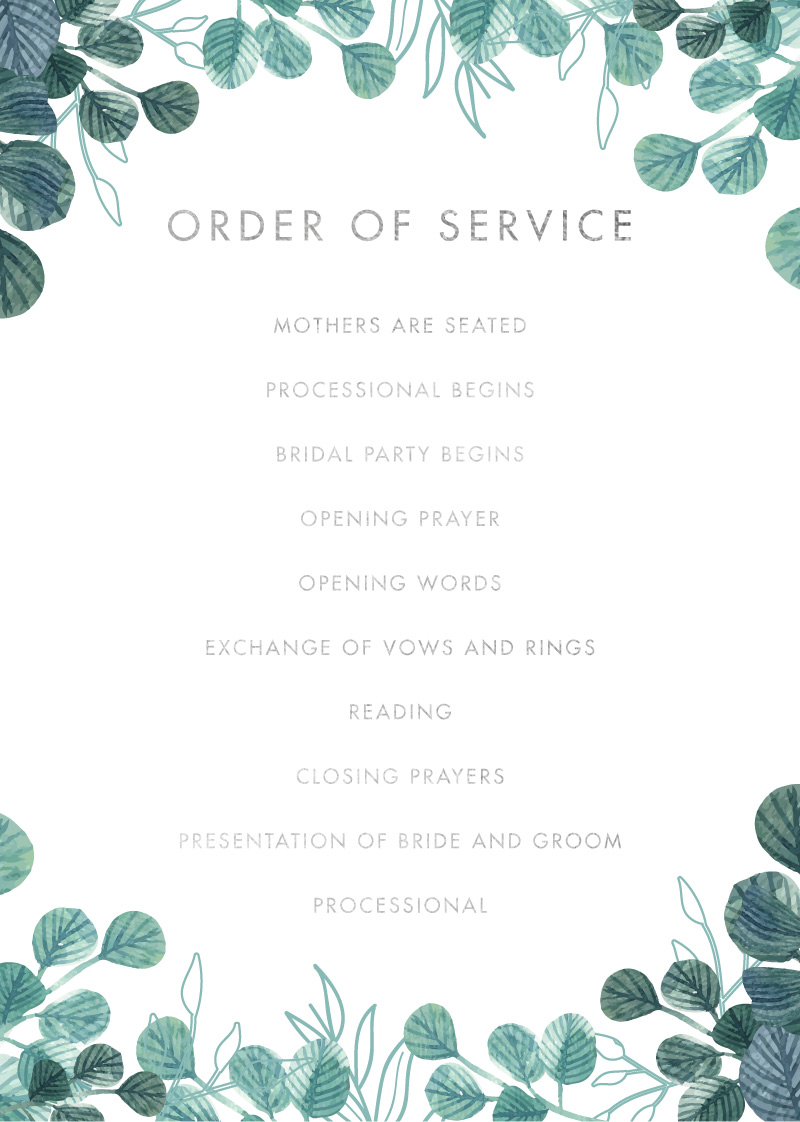 Stylistically Green - Order Of Service