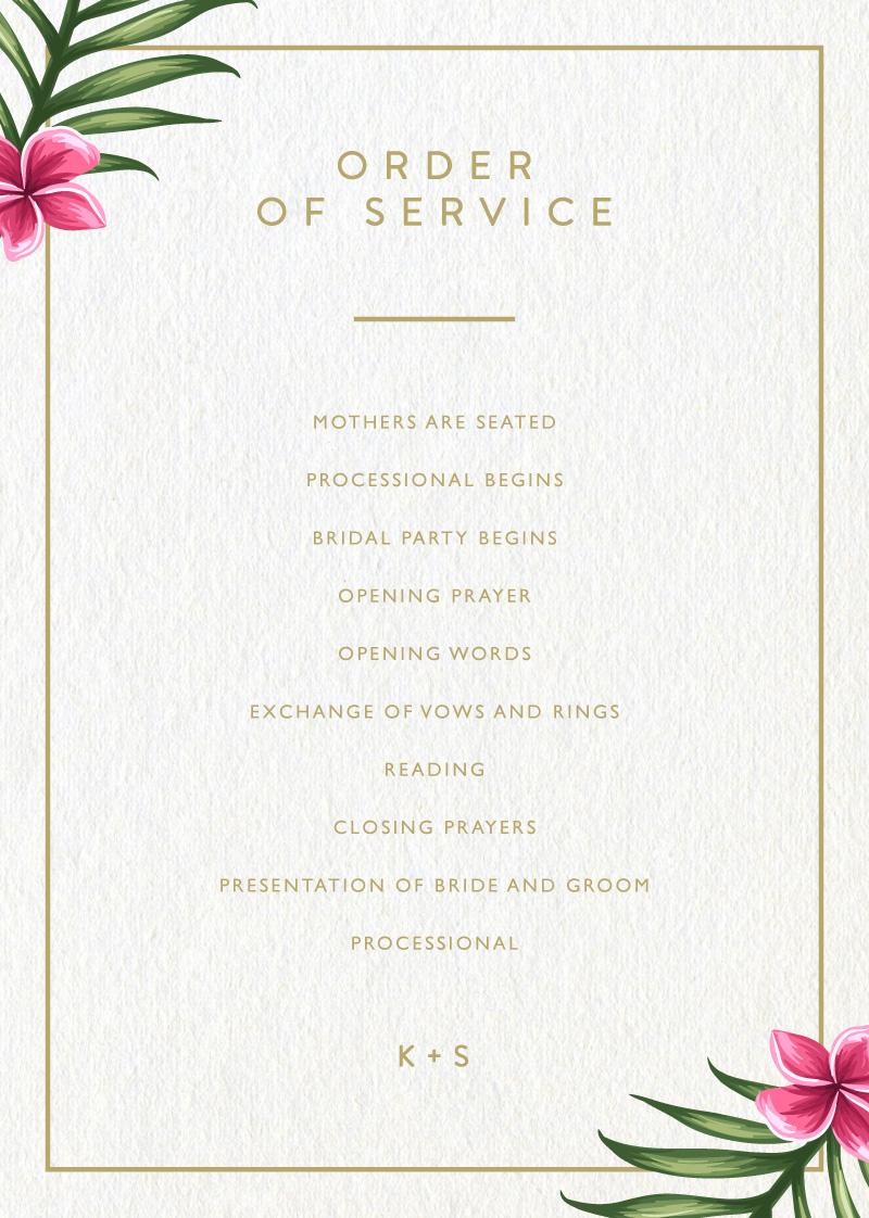 Sweet Tropical - Wedding Programs
