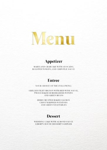 Geometric Diagonal - Wedding Menu