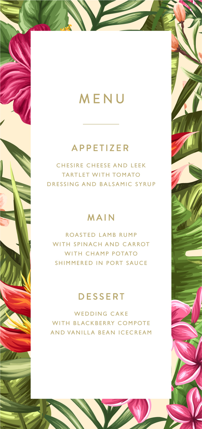 Sweet Tropical - Menu