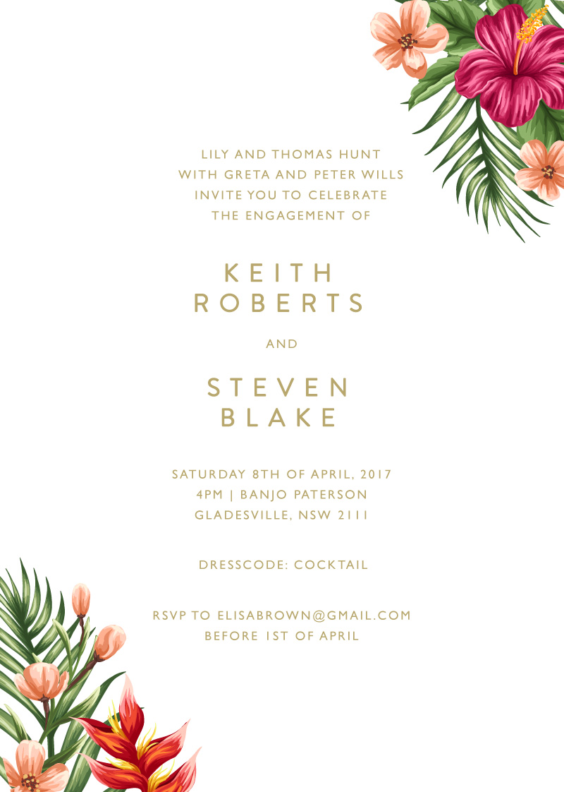 Sweet Tropical - Engagement Invitations