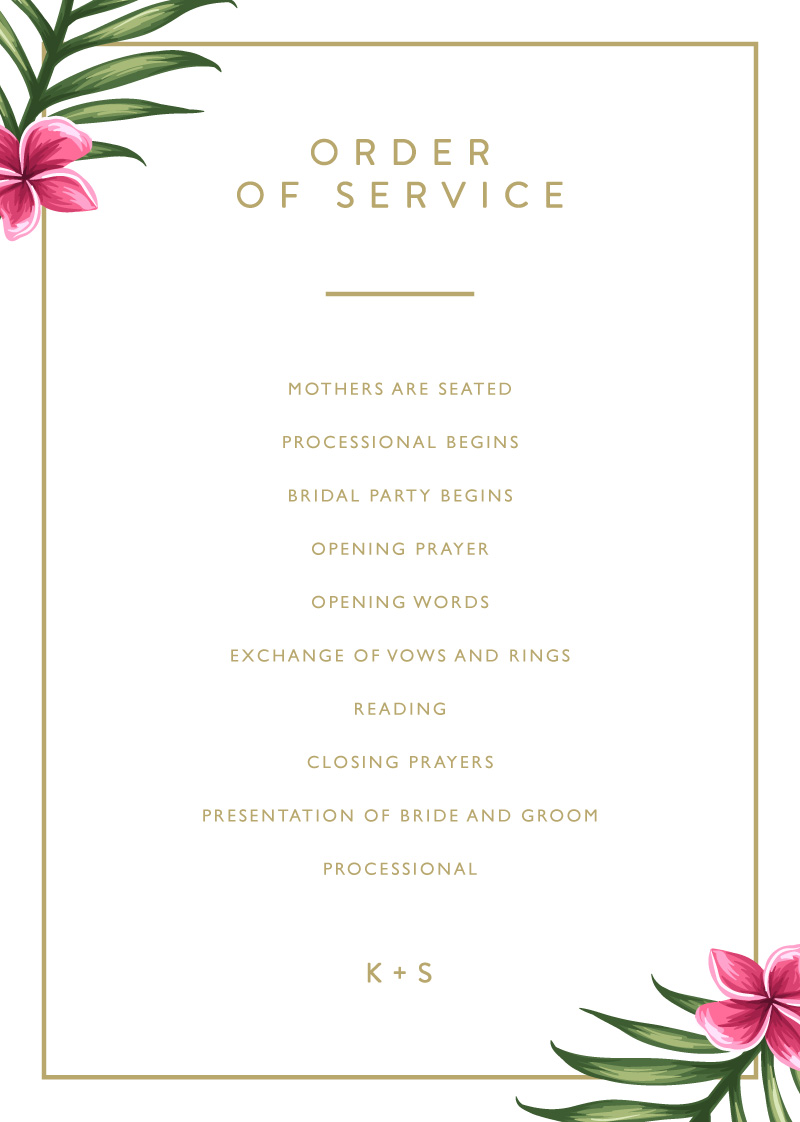 Sweet Tropical - Order Of Service