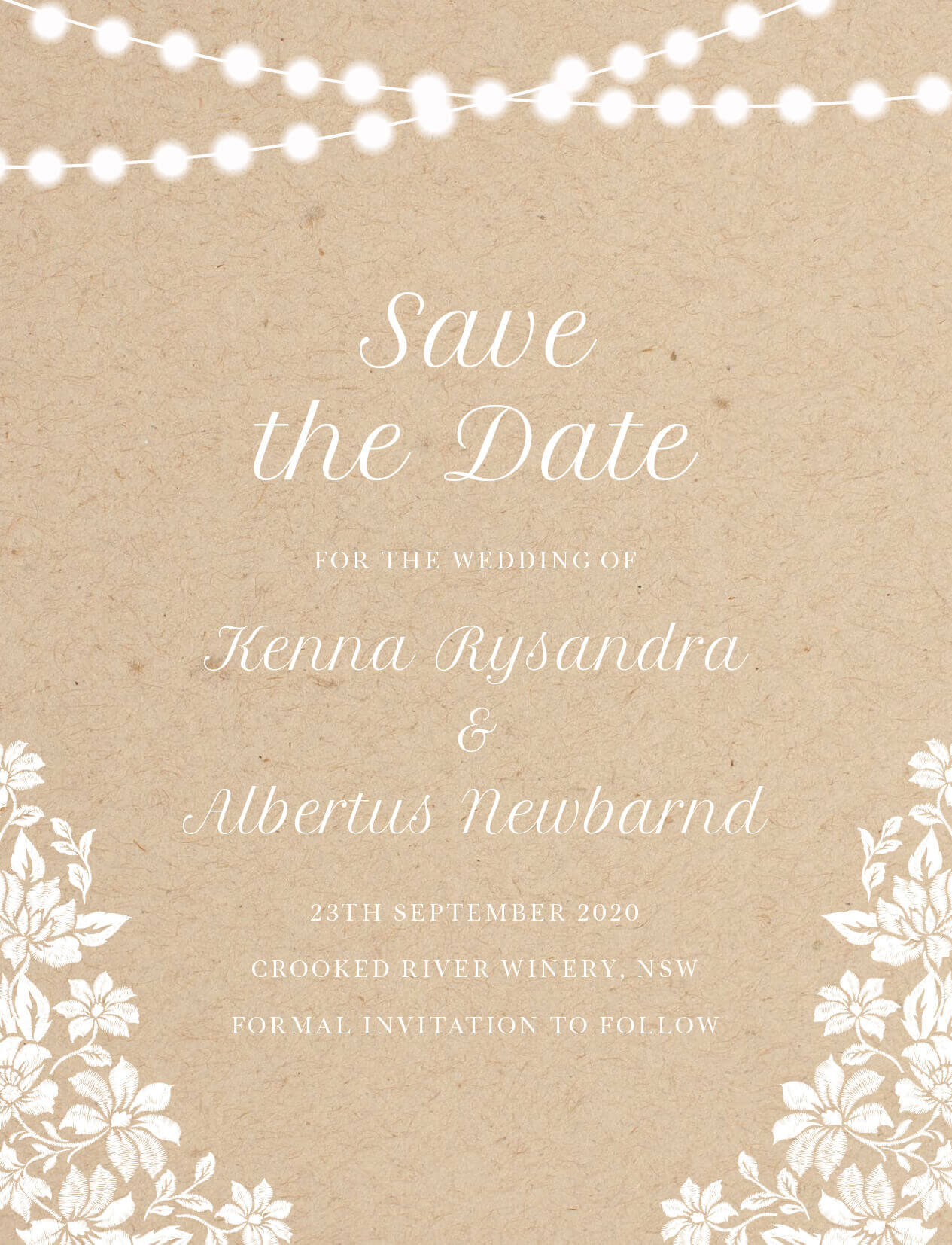 Rustic Twinkle - Save The Date