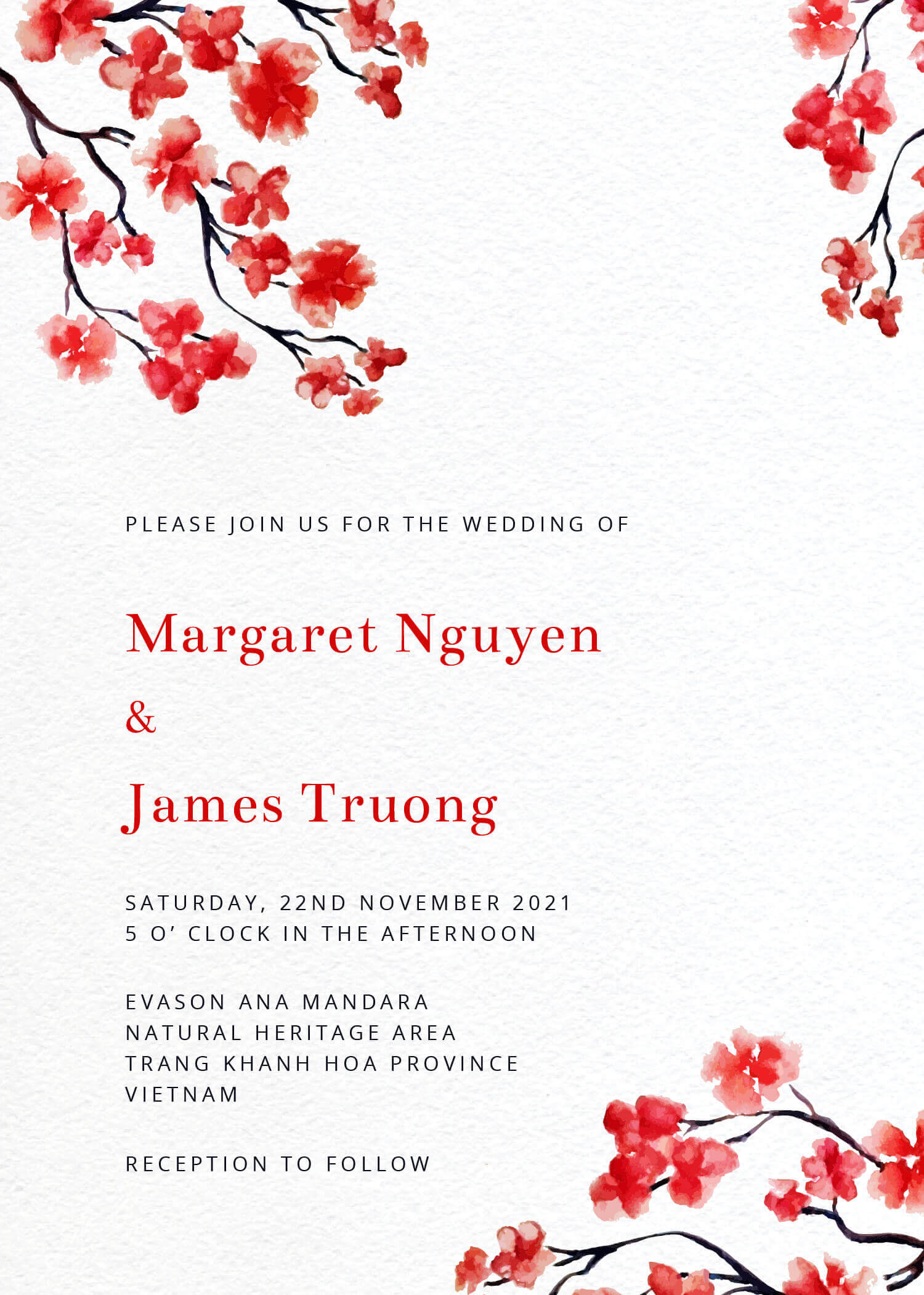 Cherry Blossom Vietnamese Wedding Invitations