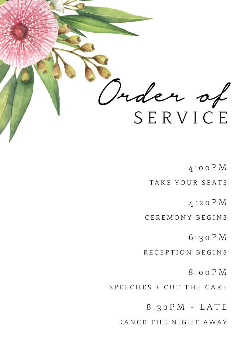 Flowering Gum - Order Of Service