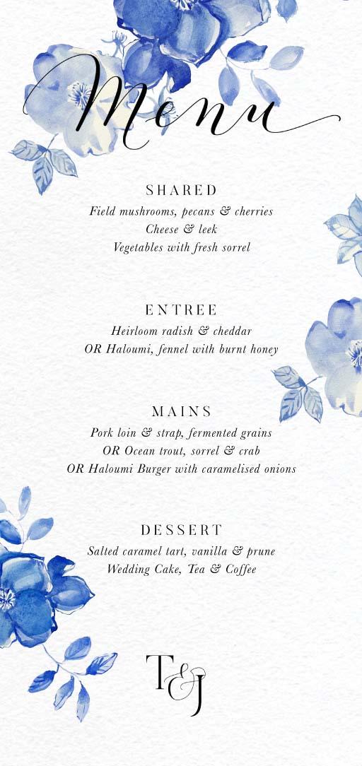 British Floral - Wedding Menu