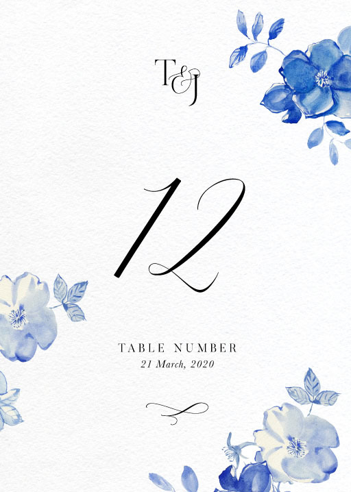 British Floral - table numbers