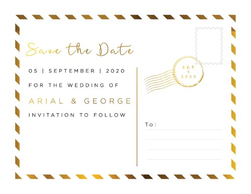 Postcard Foil Save The Date - Save The Date