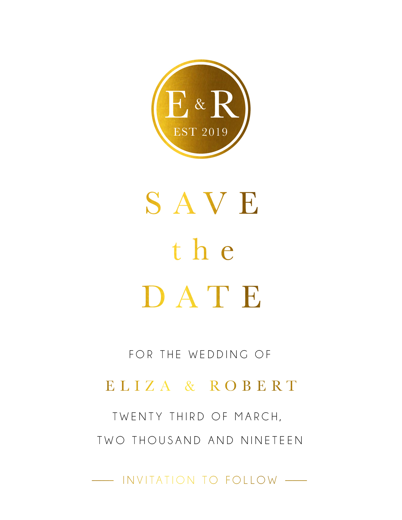 Classic Monogram - Save The Date