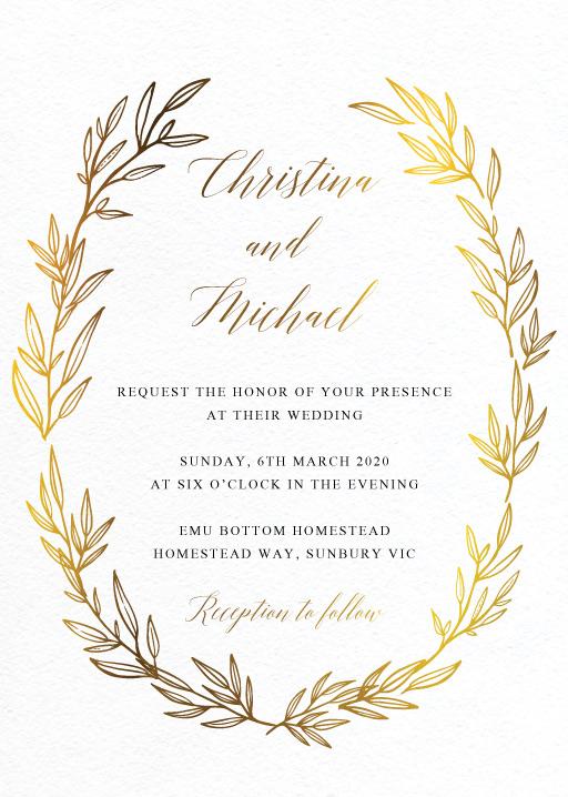 Athena's Crown Wedding Invitations - wedding invitations