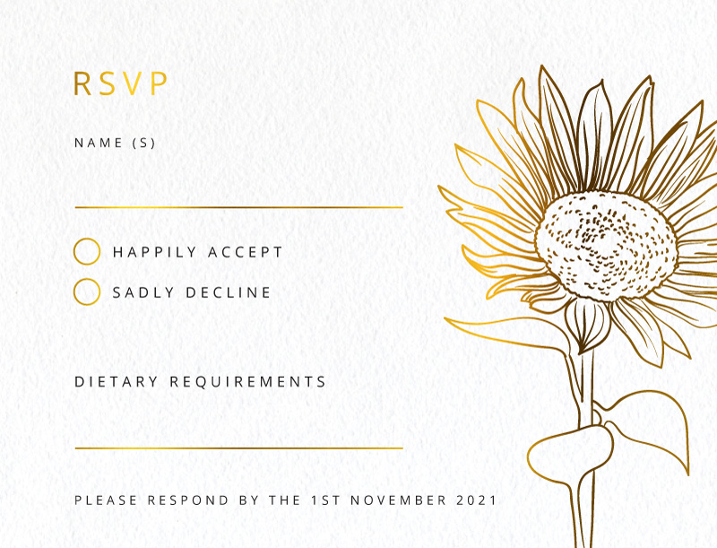 Golden Sunflower - Rsvp