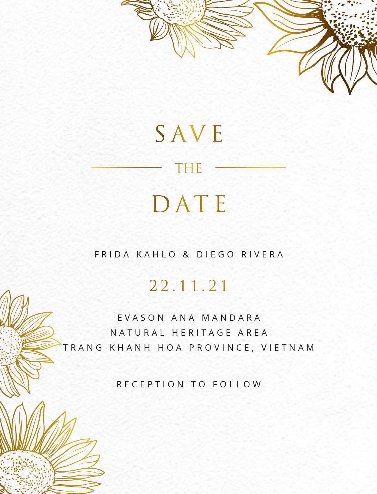 Golden Sunflower - Save The Date