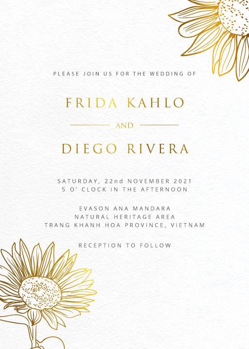 Golden Sunflower Wedding Invitations - wedding invitations