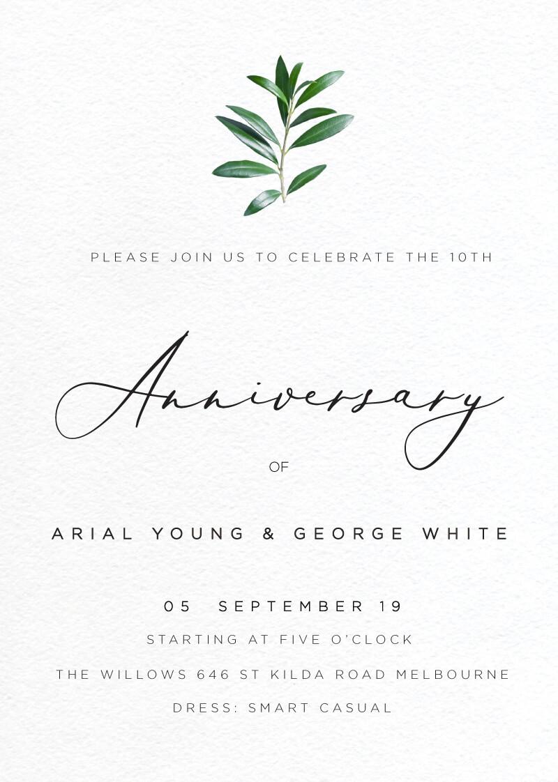 Olive Anniversary - Wedding Anniversary Invitations