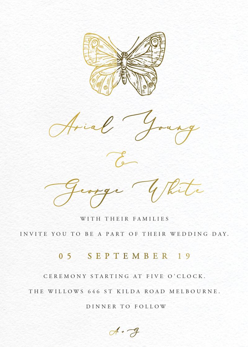 Golden Butterfly - Wedding Invitations