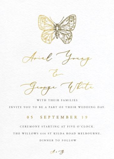 Golden Butterfly Wedding Invitations - wedding invitations