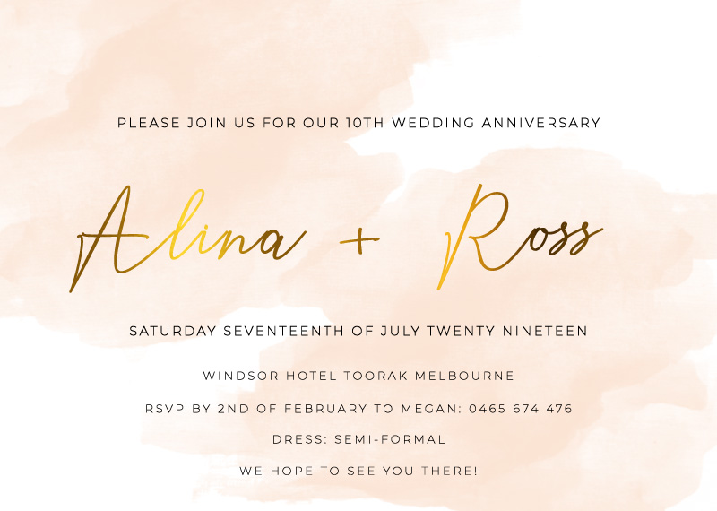Rosey - Wedding Anniversary Invitations