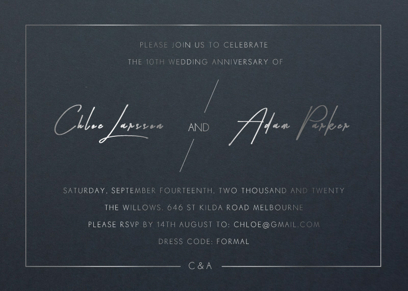 Modern Mode - Wedding Anniversary Invitations
