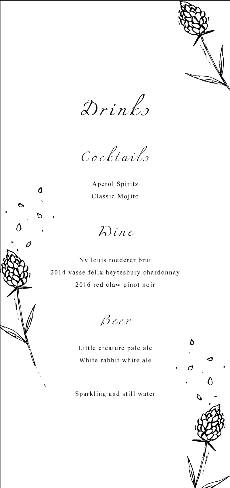 Wedding Petals - Menu