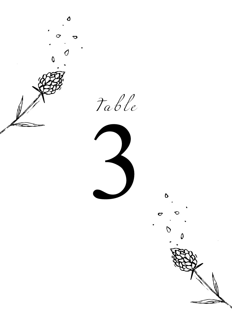 Wedding Petals - Table Numbers