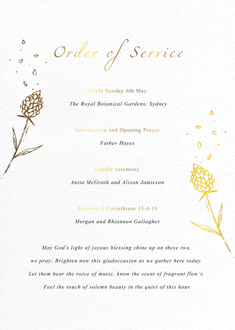 Wedding Petals - Order Of Service